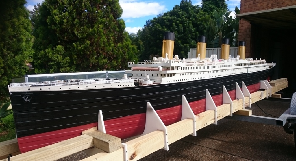 Bernie Dohnt 3 D Printed Model Titanic On Boat Trailer