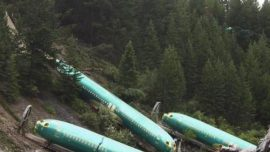 Boeing Fuselages In  Clark  Fork  River