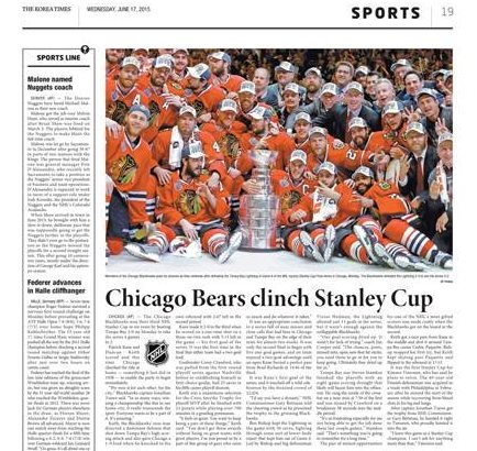 Chicago  Bears  Clinch  Stanley  Cup