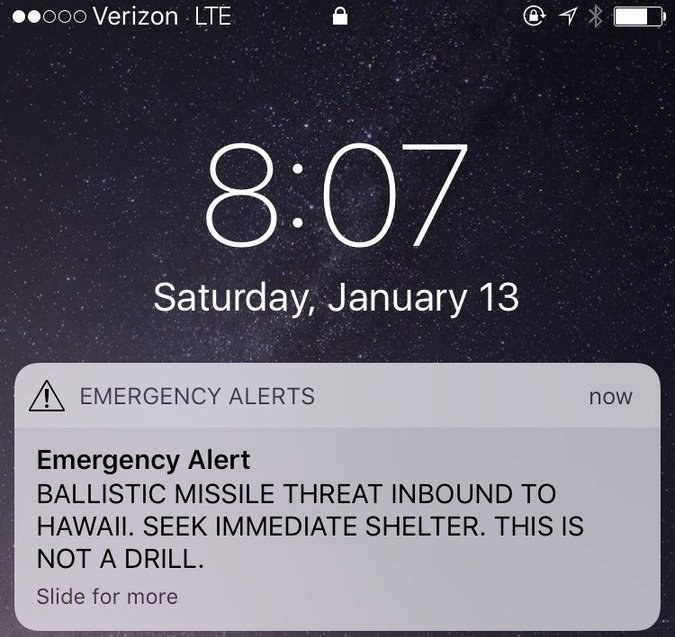 Hawaii Missle False Alarm Fail January 13 2018